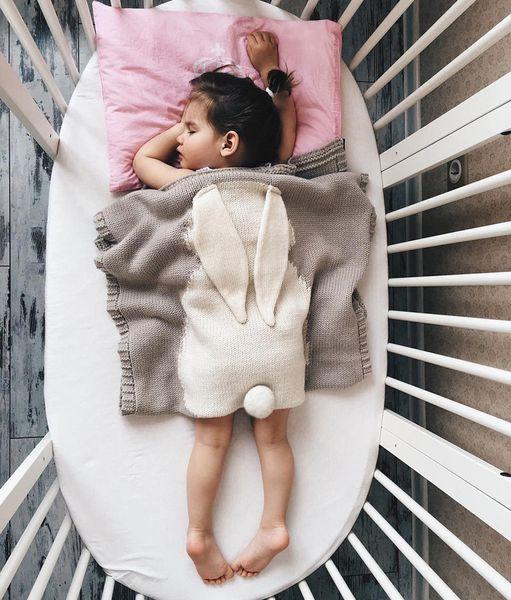 Retail Baby Rabbit Ear Blankets Kids 73*108cm Ins Hand Knit Blanket Crochet Swaddling Infant Cartoon Knitted Bath Towels mat