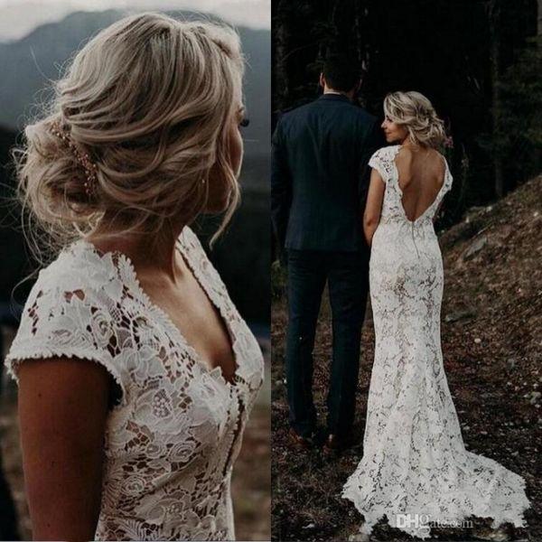 Elegant Lace Wedding Dresses V Neck Capped Short Sleeves Sheath