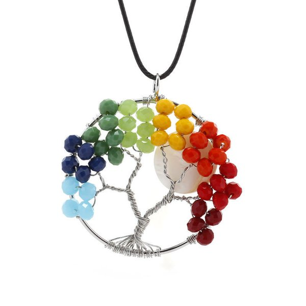 Beads Gemstones Pendant Necklace for Women Natural Stone Handmade Chakra Tree of Life Charms Pendant Fashion Gift Jewelry with Rope Chain