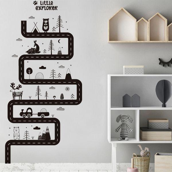 Творческий DIY дороги мультфильм коллаж животных стикеры стены стикеры съемные спальни гостиной фоне декоративные окна крыльцо