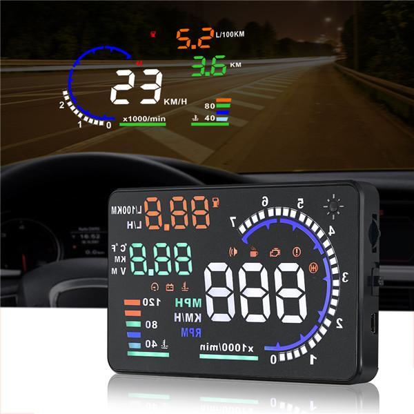 2019 Auto Head Up Display HUD A8 5,5 pollici Auto HUD Display HUD A8 OBD2 Interfaccia Velocità Allarme Spedizione multi-colore