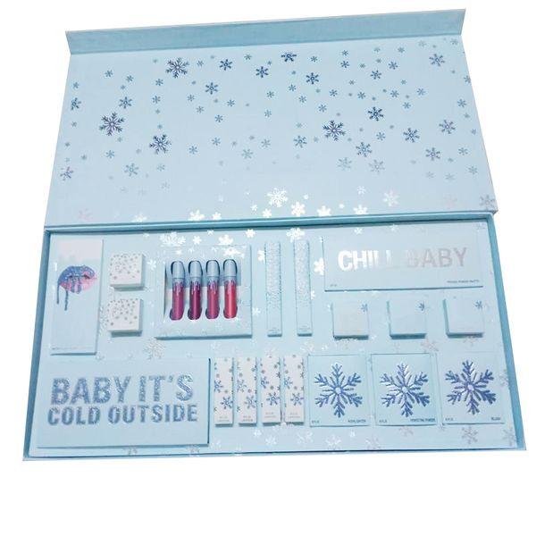 2019 Más recientes juegos de maquillaje La colección de vacaciones Liquid Matte lipsticks kit Eyeshadow Palette Gloss Highlighter Christmas Gift kit