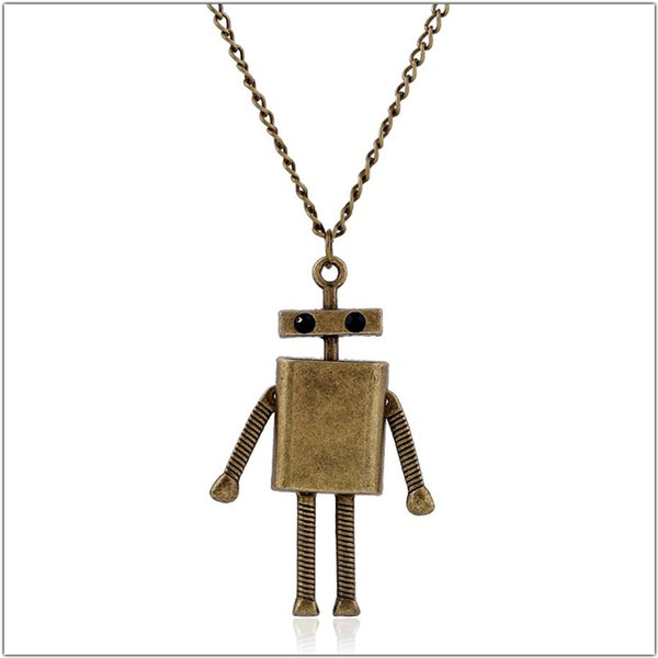 Vintage Lovely Robot Statement Necklace Women Simple Bronze Long Chains Sweater Choker Necklaces & Pendants Femme Gifts