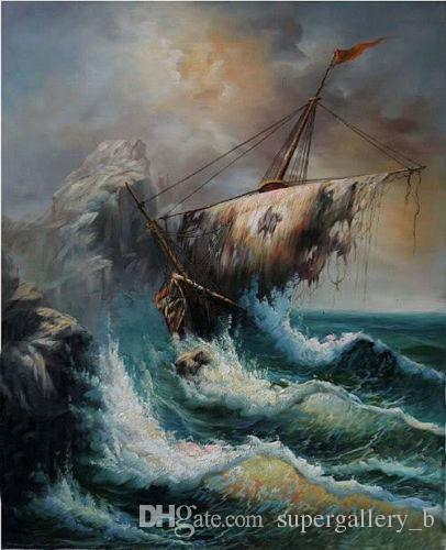 Shipwreck & broken vessel with ocean waves Handpainted & HD Printed seascape Art Oil Painting High Quality Wall Art Canvas Home Decor l36