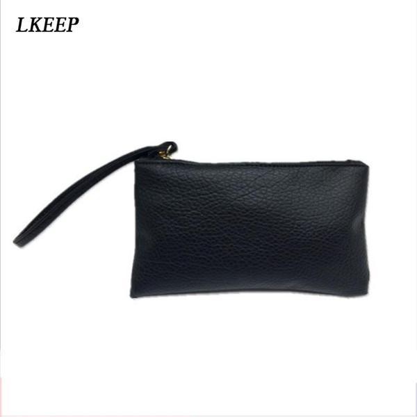 Para mujer Monedero de cocodrilo de cuero de la PU bolso de embrague simple hembra bolsa pequeña Clutchwallet Monedero Moneda Negro