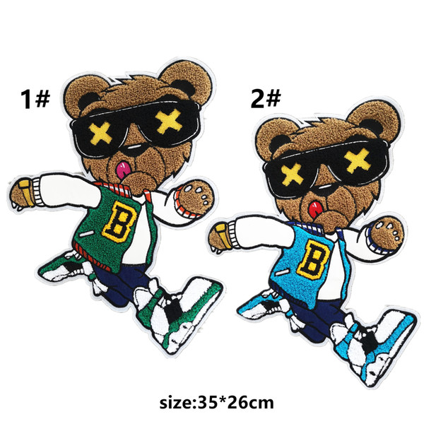 embroidery big chenille bear patches for jackets,embroidered towel bears badges appliques for jeans,animals patches for clothing A170