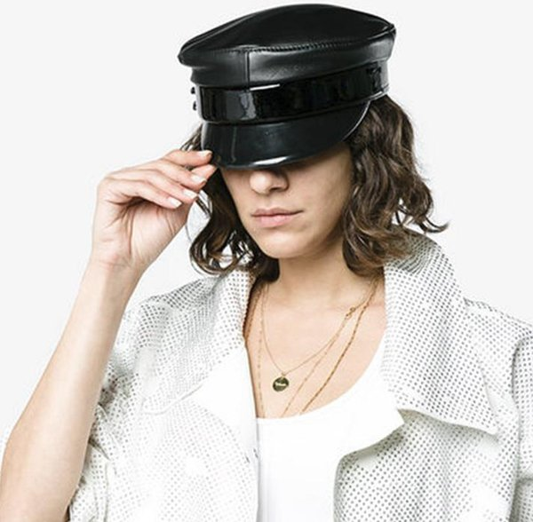 Women's Real Leather Flat Sailor Hat Punk Rock Show Navy Hats Motorcycle Club Sheepskin Leather Genuine Leather Hat Props Black