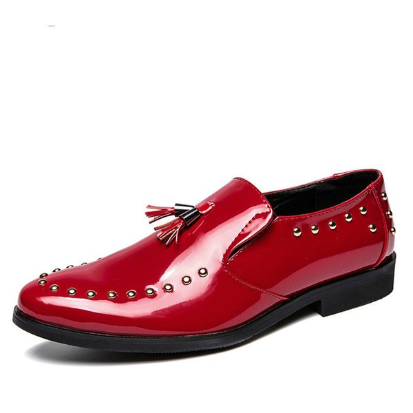 Men Shoes Big Size Casual 2019 Rivet Tassel Loafers Black Slip On Patent Leather Mens Vintage Waterproof Shoes Men G8-04