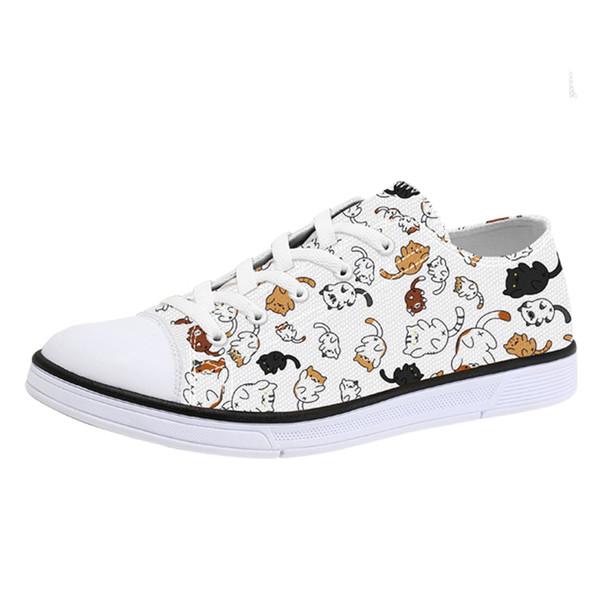 2019 Novo Estilo Único Gatos Imprimir Sapatos de Lona para Homens Mulher Animal Print Casual Sneakers para Adolescentes Meninos Meninas Lace Up Flats