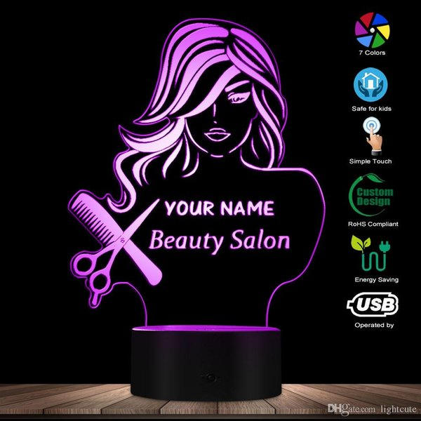 Salon de beauté Mode Lady LED Night Light Illusion Barber Shop Coiffeur Scissor Peigne Lampe de table sur mesure Votre nom moderne Lumière