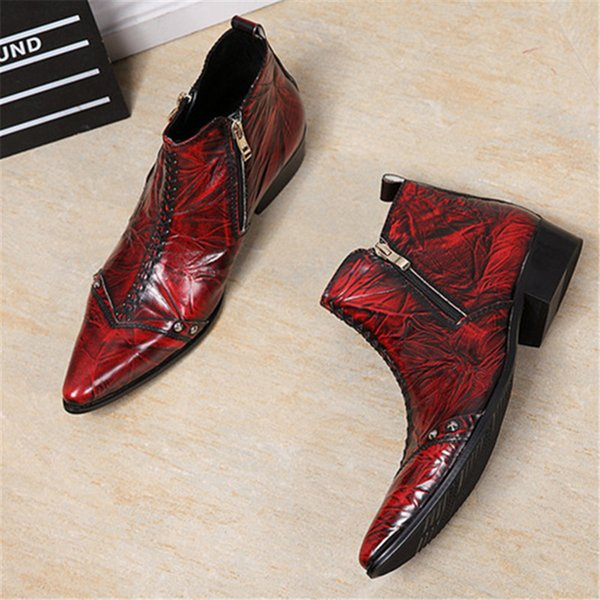 Men Ankle Boots Double Zipper Wine Red Military Cowboy Boot Mens Safety Shoes Pointed Toe Dress Rubber Boots Footwear