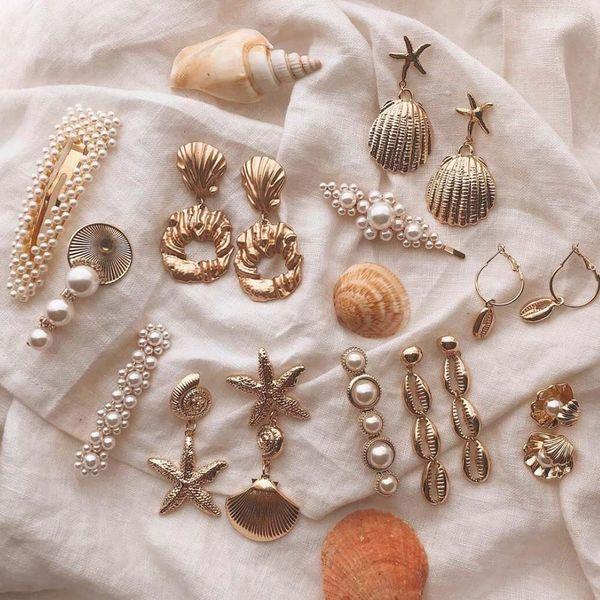 Los pendientes de gota cuelgan Girlgo 2019 Nueva concha para las mujeres elegante Declaración Fleshwater de joyería de perlas Maxi colgante del encanto del oro