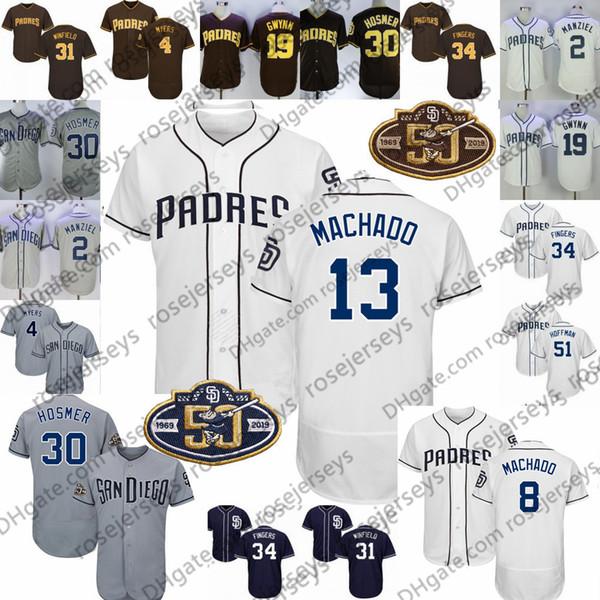 Custom Padres 50th Jersey 2019 San Diego # 4 Wil Myers 10 Hunter Renfroe 13 Manny Machado 30 Eric Hosmer 23 Fernando Tatis Jr.