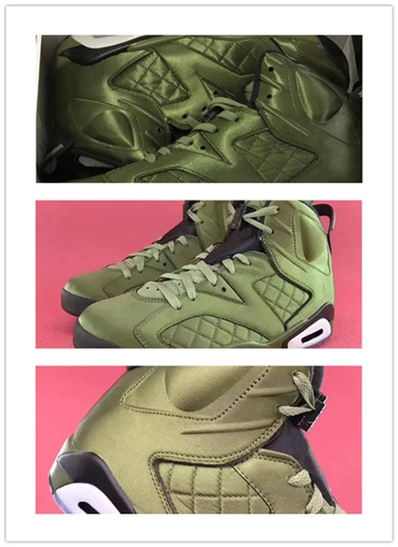 Haute Qualité nouvelle 6 Vol Pinnacle Live Armée Verte Basket-ball Chaussures Hommes 6s Nylon Armée Vert Sneakers Chaussures taille 41-46