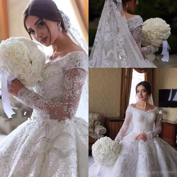 Dubai arabic luxury de igner wedding dre e off houlder lace jewel cry tal wedding bridal gown with long leeve lace wedding gown