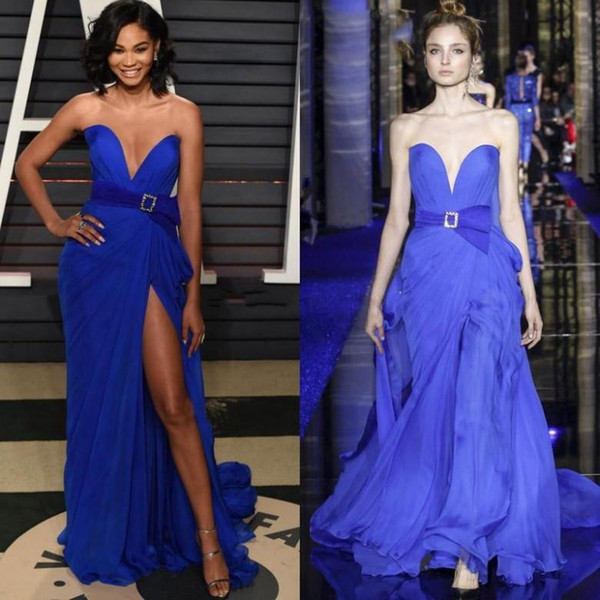 2019 new couture royal blue sexy zuhair murad evening dresses sweetheart neckline split prom gowns sweep train