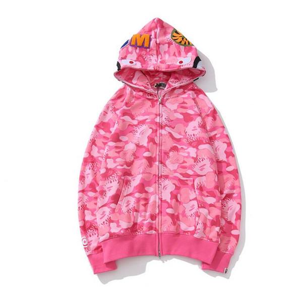 Brand Design Men's Jackets Shark Mouth Pink Camouflage Hoodies Coat Fashion Long Sleeve Autumn Hooded Zipper Jackets Loose Casual Sportswear