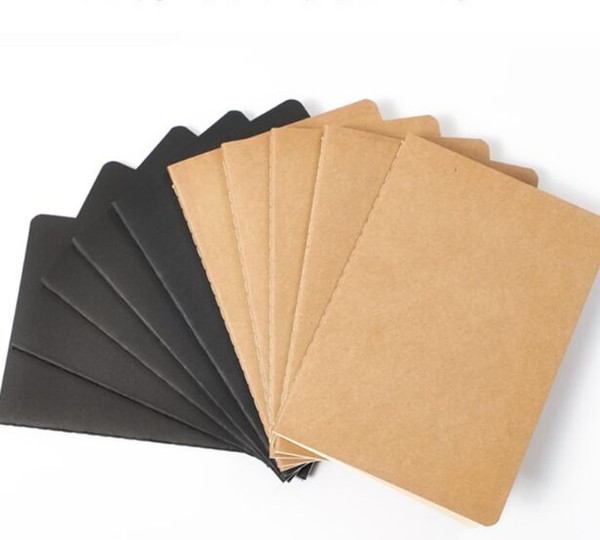 top popular 80 pages notebooks of travel journal stationery black blank notepad Kraft paper book for the retro soft pad paper notebook for students 2021