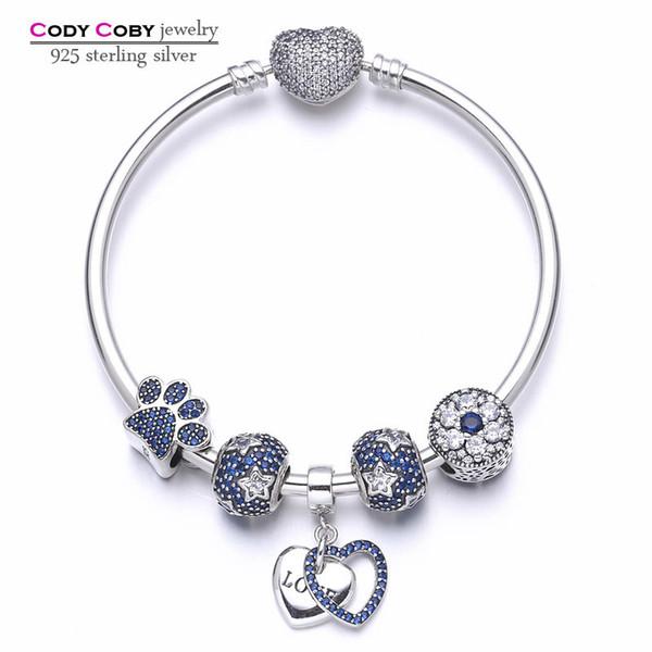 Nouveau 100% 925 Sterling Silver Heart Bracelets Bracelets Avec Blue Star Perles Paw Imprimer Diy Charms Pour Femmes De Mode Bijoux De Luxe C19021601