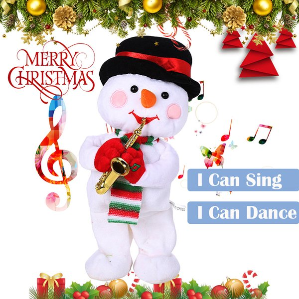 Christmas Electric Dancing Singing Snowman Animated Plush Toy Stuffed Animals Christmas Decorations For Home Navidad 2020 Nov