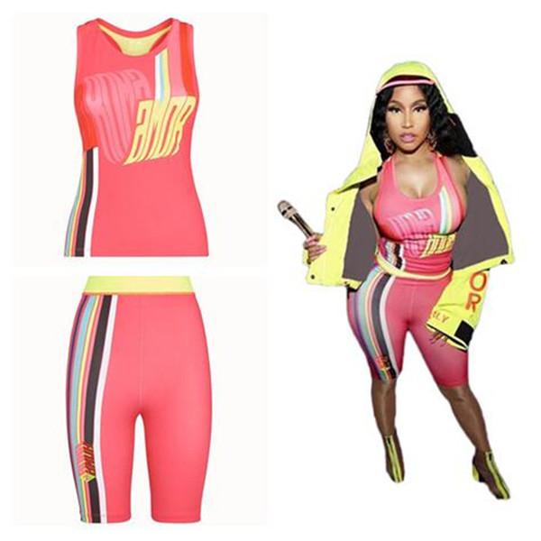 FF Luxury Women Brand Bodysuit Camisole Tracksuit Color Matching Stripe Corset Vest + Biker Shorts Designer 2 Piece Sexy Club Outfits C7105