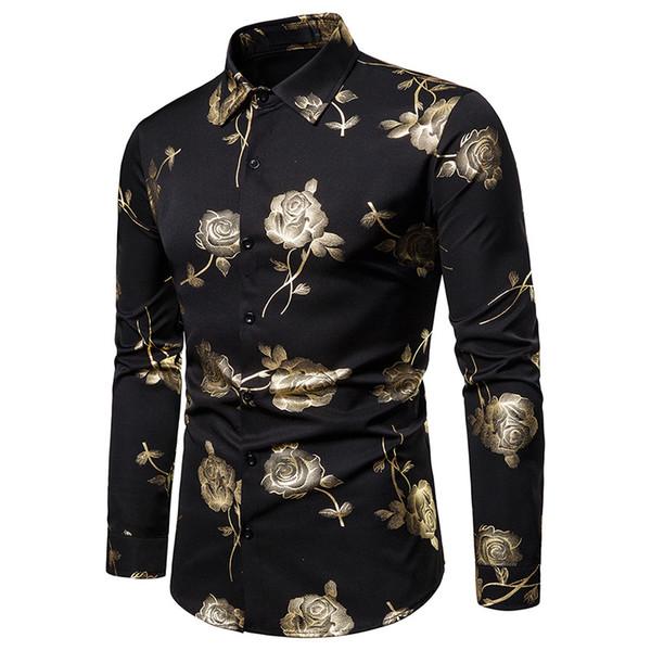 Nouveaux Hommes Hipster De Luxe noir or Rose Bronzage Imprimé À Manches Longues Robe Chemise De Mariage De Nuit Club Hip Hop fête Slim Chemises