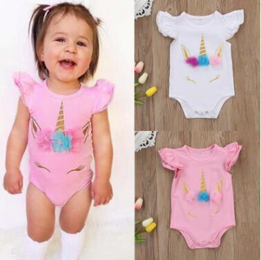 Neugeborenes Einhorn-Strampler 2019 Sommer Rüschen Säugling Neugeborenes Baby Kinder Einhorn Strampler Bodysuit Overall Outfit Kleinkind Mädchen Kleidung