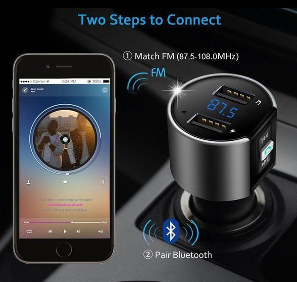 2019 C265 High-Quality Wireless In-Car Bluetooth FM Transmitter Radio Adapter Car Kit Black MP3 Player USB Charge shopping one day