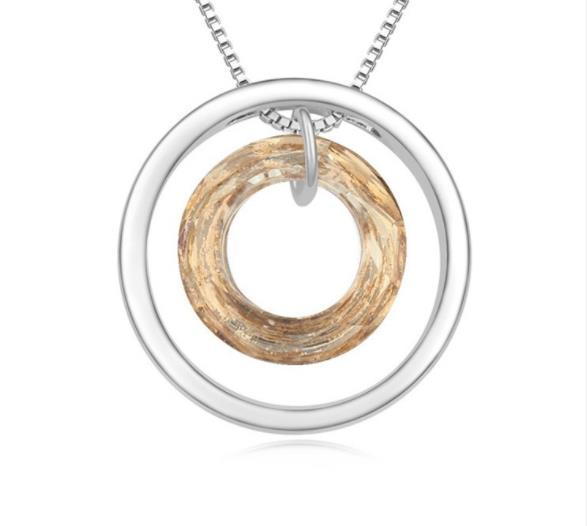 Regalo de Las Mujeres Collares pendientes dama Joyería Swarovski Elements Collar de Cristal Austriaco Deseando Círculo Colgante de Moda W71