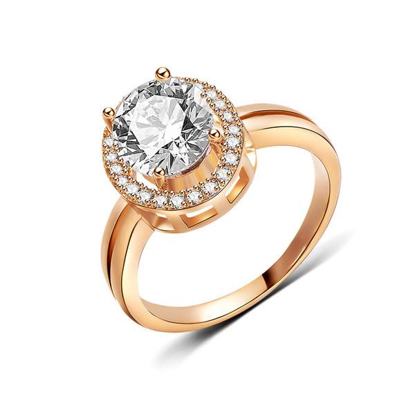 Übertragen Sie Liebe Bester verkaufender einfacher runder eingelegter Zirkon 18KS Goldfarbe Ring für Frauenart und weise Engagement Valentine Prom-Schmucksachen