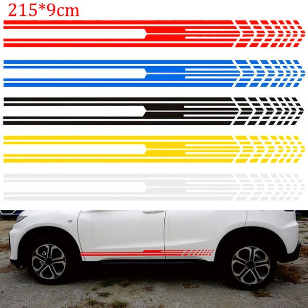 215x9cm Racing Stripe Graphic Sticks Carrozzerie Body Racing Sport Side Stripe Adesivi Auto Vinyl Decal per Car Styling