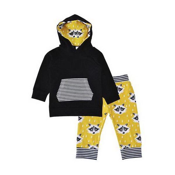 Ternos dos meninos da moda Outono Terno Do Menino Stripe Fox Manga Comprida Chapéu Guarda Calças Dois Kids'Sports Terno