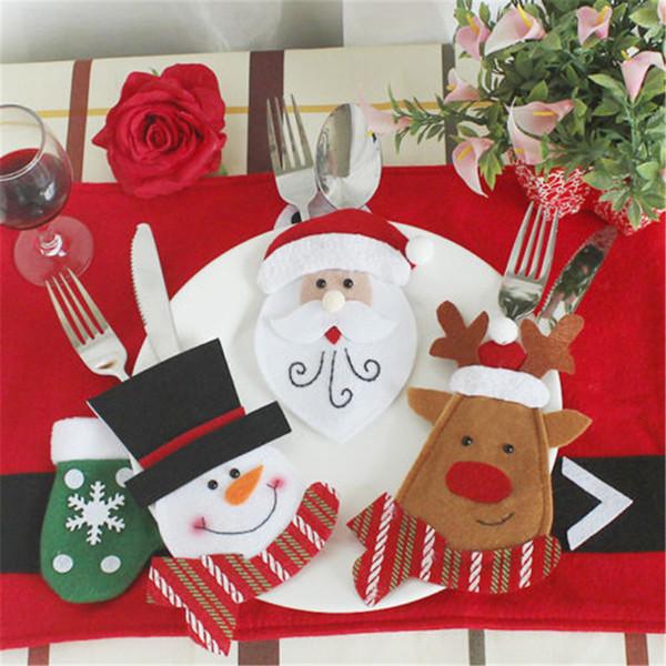 Christmas Dinner Table Mats Cutlery Fork Knif Holder Case Pads Decoration for Home Snowman Santa Claus Knife Fork Bag