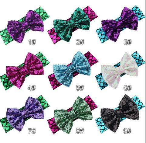 Mermaid Sequins Bowknot Head Band Baby Girl Hairbows Boutique Elastic Headbands Sequins Shining Hair Bows Headwear Hair Accessories A22104