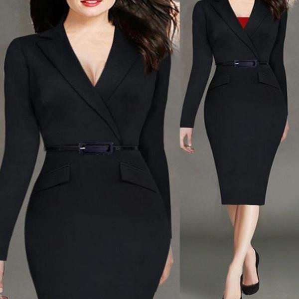 2018 Nouvelle Sexy robe professionnelle arrière de femmes porter au travail Bodycon Dress Long Mince Robes hiver femmes vêtements Élégant Sty30 #