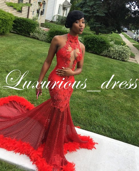 Bling Sequin Red Lace Mermaid African Prom Dress with Feather Train Sexy Halter Open Back Long Graduation Dresses 2019 Plus Size