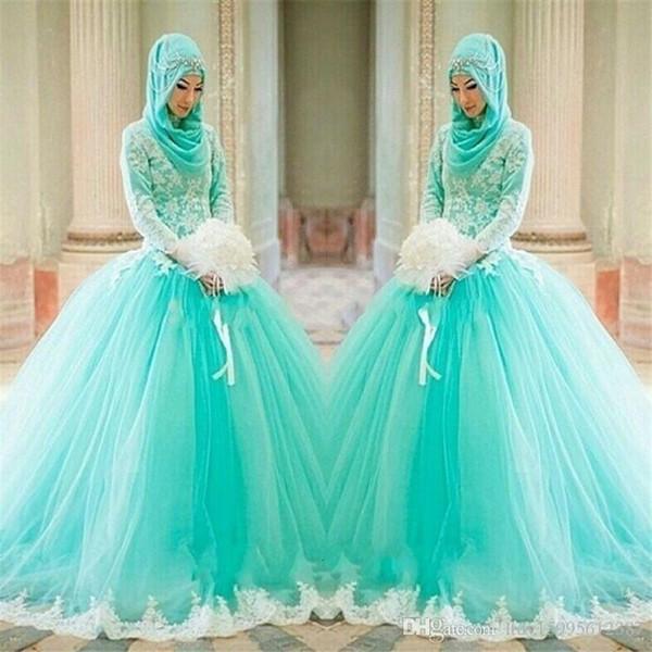 2019 Nouveau Hijab Dentelle Appliques Robe De Bal Arabe Élégant À Manches Longues Robes De Mariée Bleu Clair Musulman Islamique Robes De Mariée 2018