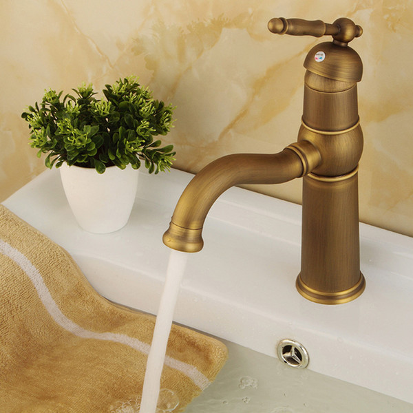1 Pc Single Handle Basin Faucet Antique Pure Copper Lead-free Brass Hot And Cold Water Sink Rotary Faucet Mixer Tap