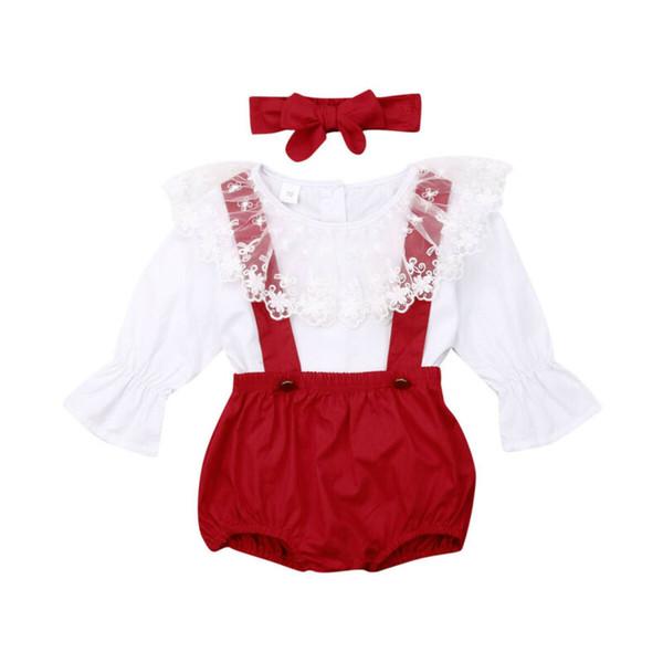 Princesa de los bebés recién nacido ropa de color rojo conjunto de encaje de manga larga Tops Trajes de pantalón corto + + En general diadema de Navidad de la niña