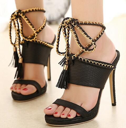 b26ed2bccd40ff Ankle Strap Fish Fringe Metal Rome Wedding Sandals Young Thin Heel Super  High Leather Oversize Peep