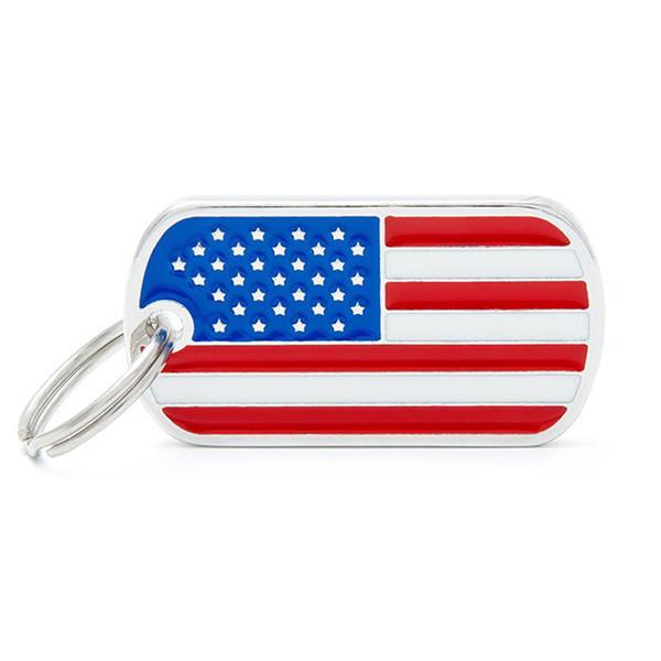 Zink-Legierung Dog Tag Amerikanische Flagge Muster Welpen ID-Tag-Anhänger Tierbedarf TD326