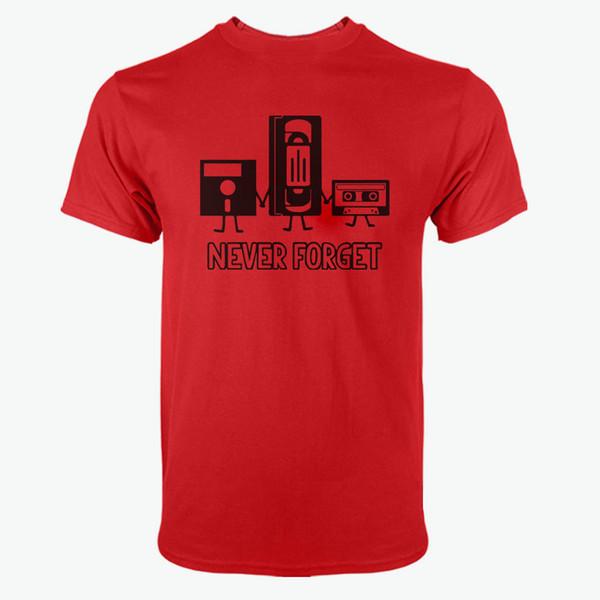 100% Algodão Camisetas do Homem de Manga Curta O Pescoço Homem Nunca Se Esqueça Engraçado Retro Caras Masculino Tee Camisola Camisas Tops