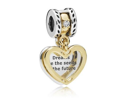 Fits Pandora Bracelets 30pcs Dream Seeds Heart Silver Charms Bead Dangle Charm Beads For Wholesale Diy European Sterling Necklace Jewelry
