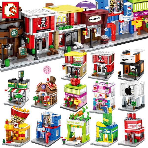 Sembo Mini rue Building Blocks magasin Mignon Micro Boutique Modèle Ice Cream __gVirt_NP_NNS_NNPS<__ Briques éducatifs jouets pour enfants Enfants Cadeaux