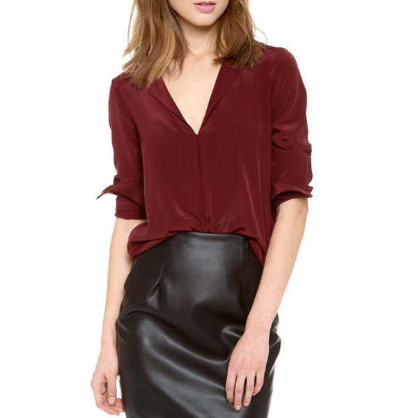Modern Women's V-neck Pullover Chiffon Shirt Top Wine Red Solid Color Chiffon Blouse