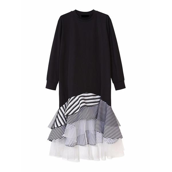 Dress Patchwork Stripe Mesh Ruffle Flare Asymmetrical Hem Pullover Casual 2019 Women Long Sleeve T Shirt Midi