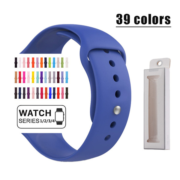 Silicone strap band for Apple watch band Strap 40mm 44mm 42mm 38mm bracelet Rubber watchband for Series 4/3/2/1 Apple watch
