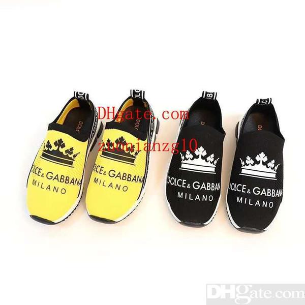 Yellow girl fabric slip on black shoe baby boy shoe sneakers fashion youth boy shoe Eu 26-35 send with box