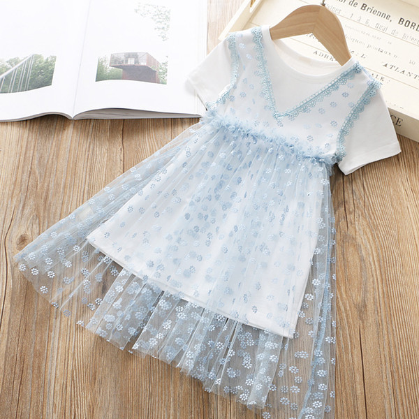 Fairy Girls Hollow Out Lace Dresses+T-Shirts Set Summer 19 Kids Boutique Clothing 1-6T Little Girls V-Neck Gauze Dresess 2 PC Outfits