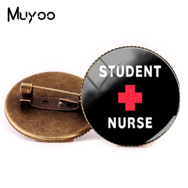 2019 New Style Nurses Symbol Brooch Proud to be a Nurse Brooches Glass Round Pins Hand craft Photo Pin Silver Fashion Jewelry